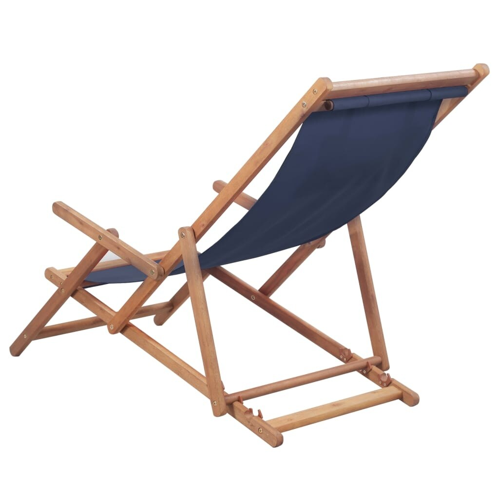 Folding Wood Beach Chair Vidaxl Folding Beach Chair Fabric And Wooden Frame Blue Outdoor Seat Lounge