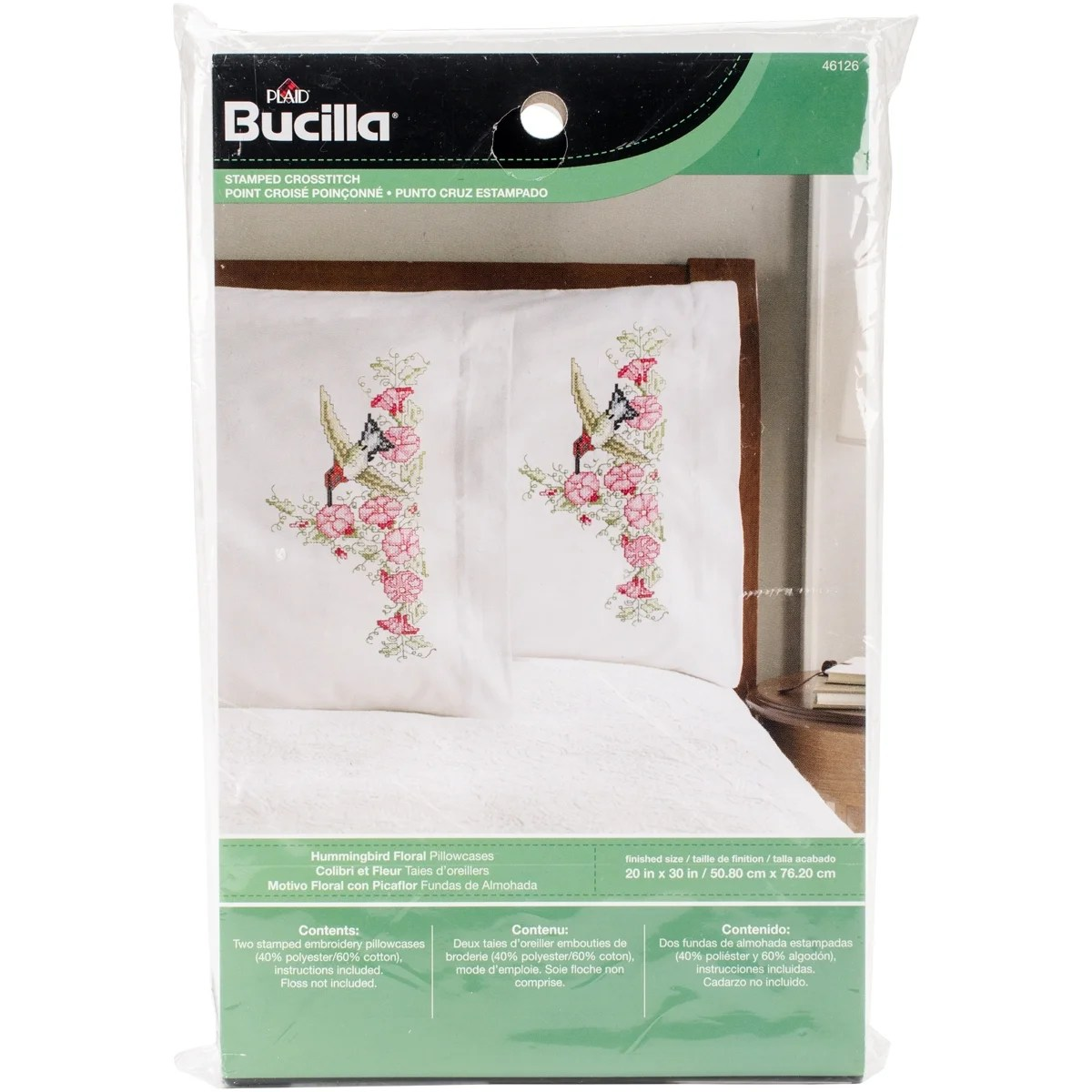 stamped embroidery pillowcase pair 20 x30 hummingbird floral free shipping on orders over 45 overstock 22271757
