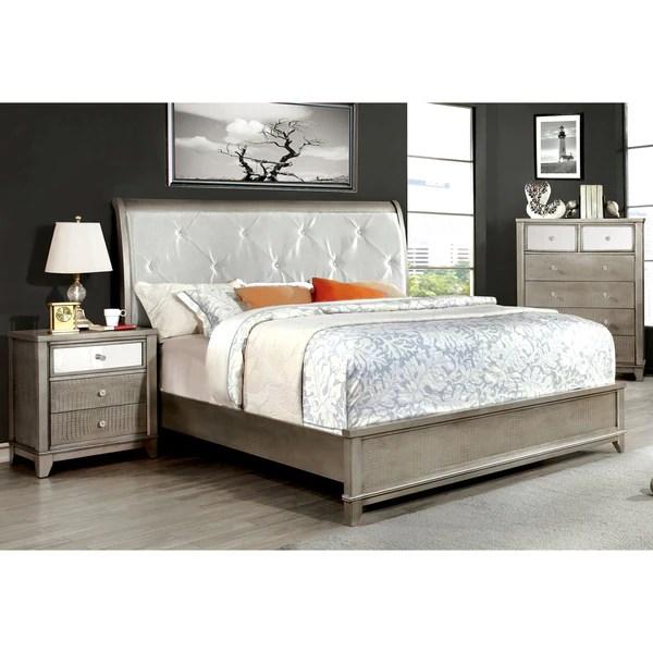 furniture of america divonne modern 3-piece crocodile silver