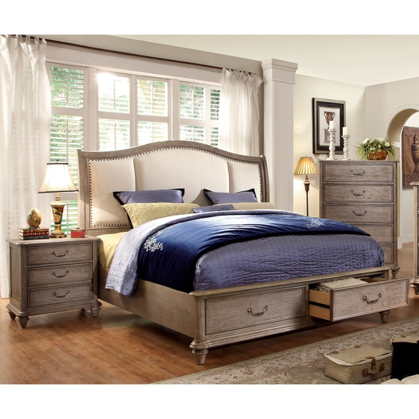 furniture of america minka iv rustic grey 3-piece bedroom set