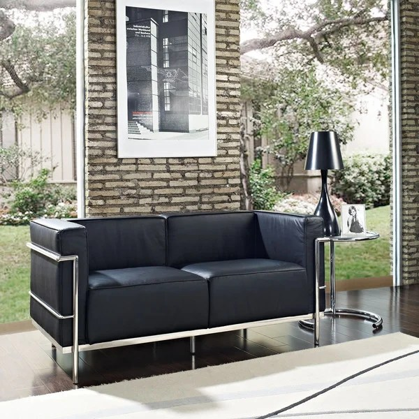 lc3 sofa theater sectional reclining shop le corbusier style 3 seat or loveseat 2 in black