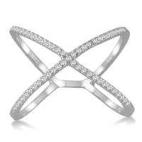 Sterling Essentials Silver CZ X Criss-Cross Ring - Free ...