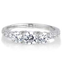 Shop Sterling Silver Round-cut 3-stone Cubic Zirconia ...