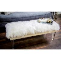 Luxe White Sheepskin Lucite Bench - Free Shipping Today ...