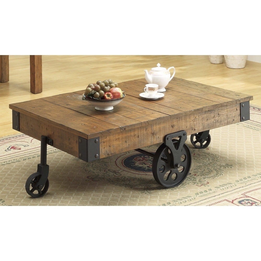 coaster company rustic wheeled wooden coffee table 47 x 31 x 16 50