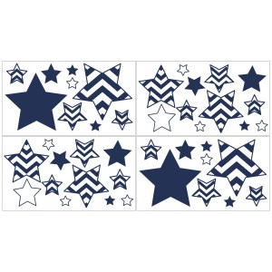 Sweet Jojo Designs Navy Blue and White Chevron Peel and Stick Wall Decal Stickers Art Nursery Decor (Set of 4)