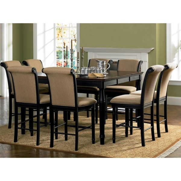 distressed black dining chairs signet high chair shop riverdale upholstered amaretto wood counter height set