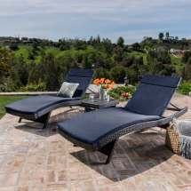 Luana Outdoor 3-piece Wicker Adjustable Chaise Lounge