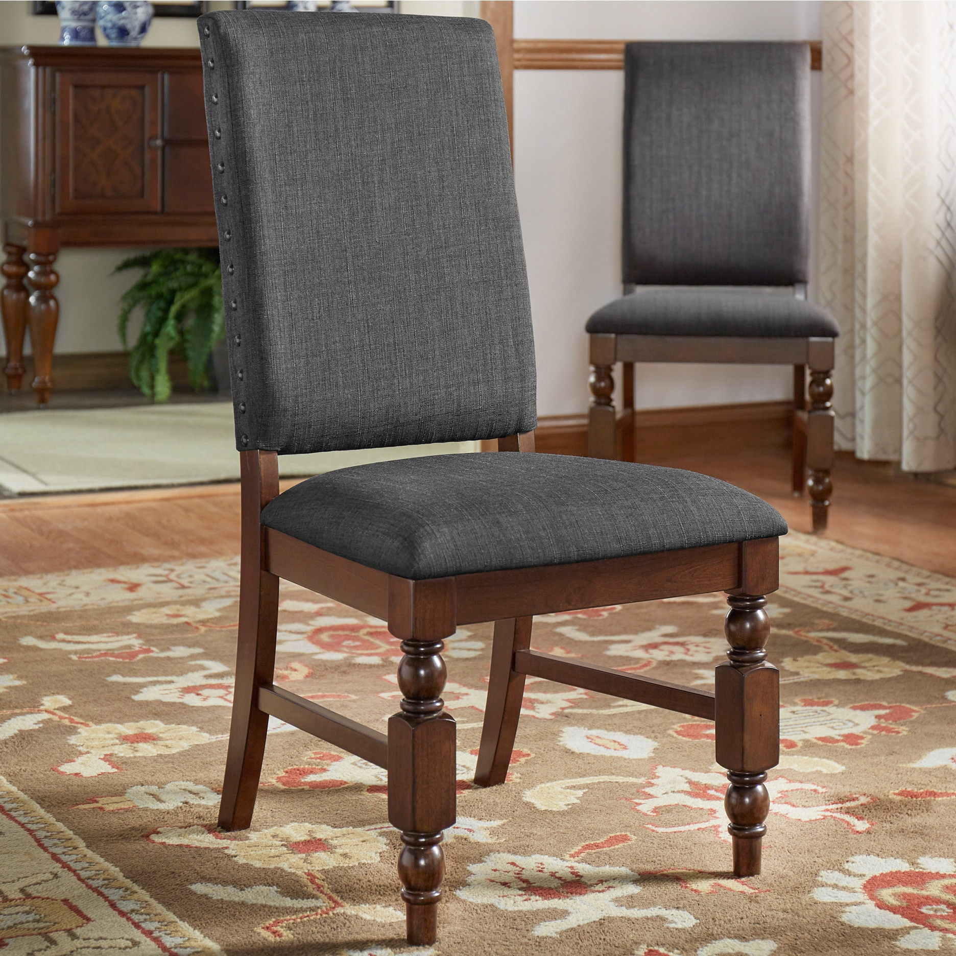 nailhead upholstered dining chair red club chairs sale flatiron set of 2 by inspire q