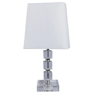 Crystal and Metal 15-inch Table Lamp with Chrome Accent