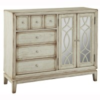 Shop Hand Painted Distressed Antique White Finish Mirrored ...