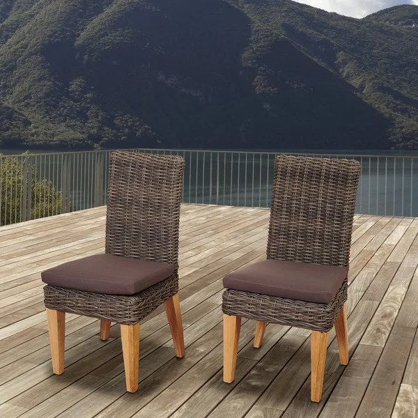 Amazonia Teak Sinclair Wicker Teak Patio Chair Set With Brown Cushions Set Of