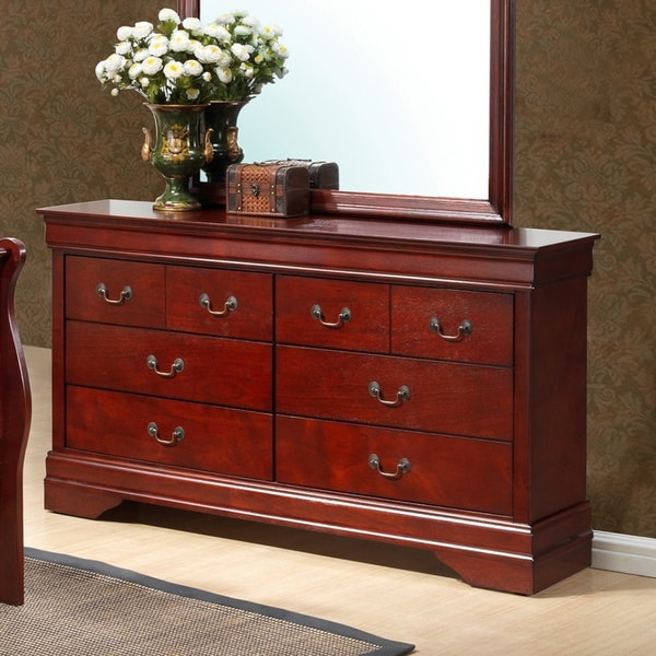 Shop Louis Philipe Sixdrawer Cherry Wood Finish Dresser  Free Shipping Today  Overstock