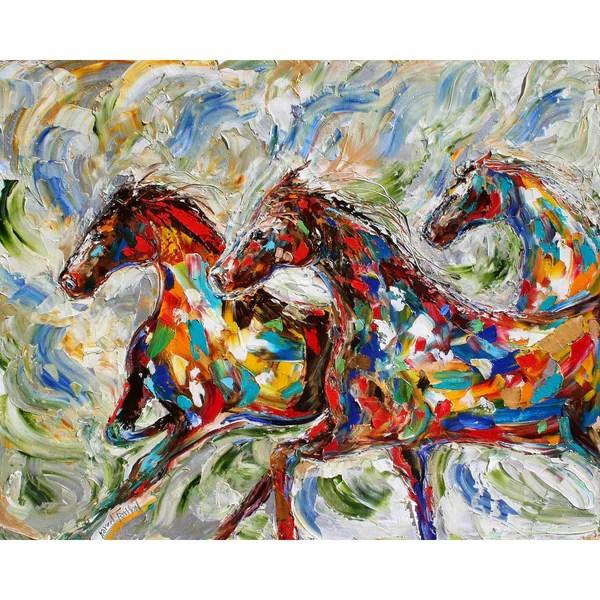running horses oil on