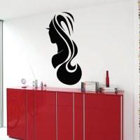 Shop Hair Salon Woman Face Sticker Vinyl Wall Art - Free ...