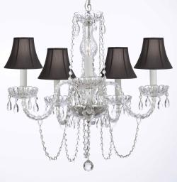 Murano Venetian Style All Crystal Chandelier Lighting With Black Shades H25 X W24