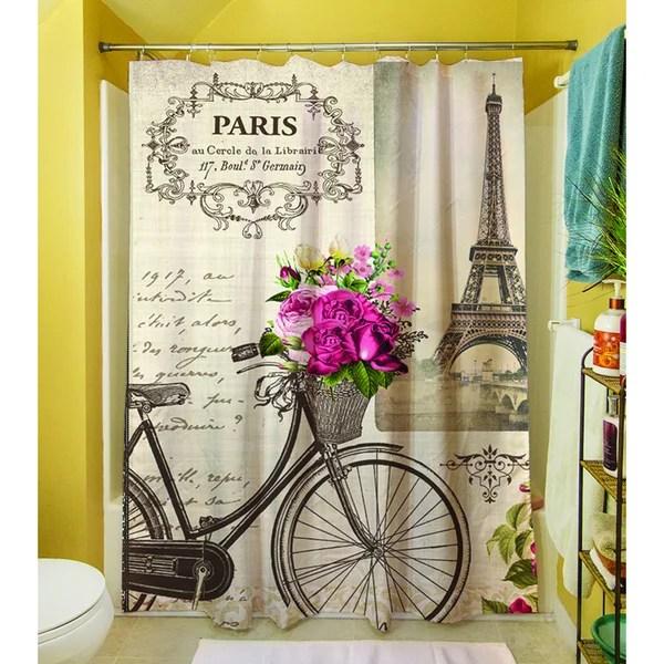 Thumbprintz Springtime In Paris Bicycle Shower Curtain Free