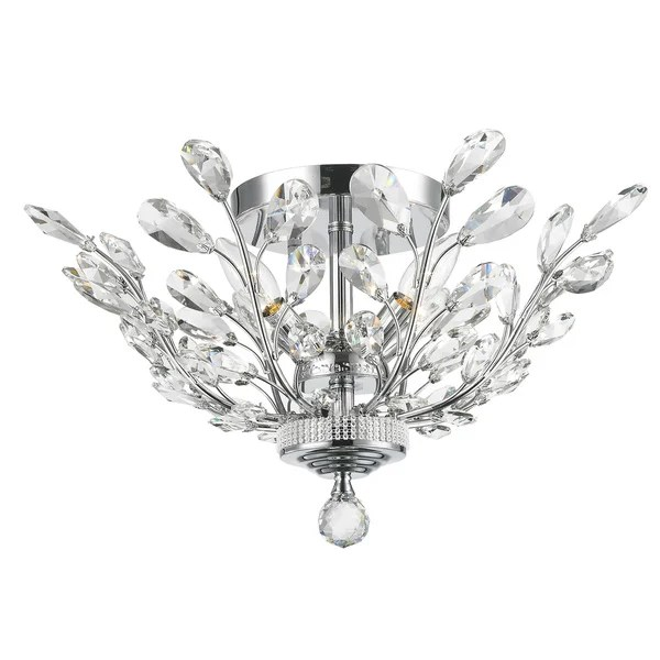 Floral Orchid Collection 4-light Chrome Finish 20-inch