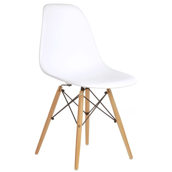 eames bucket chair vintage recliner style white molded plastic dining - free shipping today overstock.com 17258607