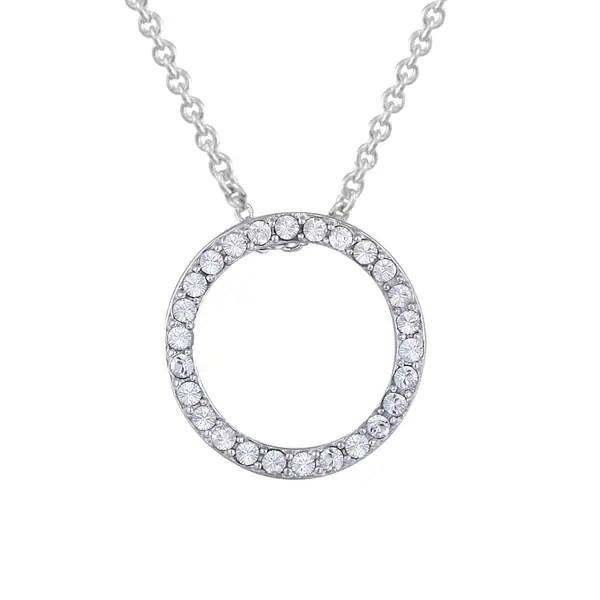 Shop Crystal Ice Silvertone Swarovski Elements Open Circle