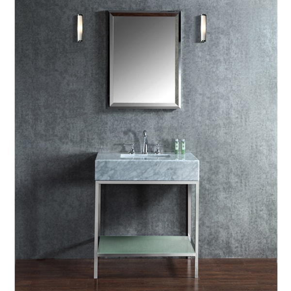 Shop Brightwater 30inch Marble Steel Glass Free