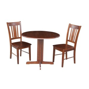 International Concepts Dual Drop Leaf 36-inch Dining Table with Two San Remo Chairs in Espresso