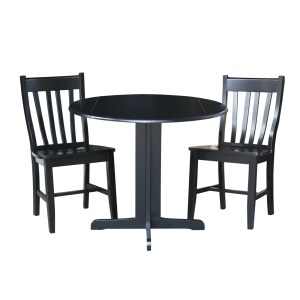 International Concepts Dual Drop Leaf 36-inch Dining Table with Two San Remo Chairs in Black