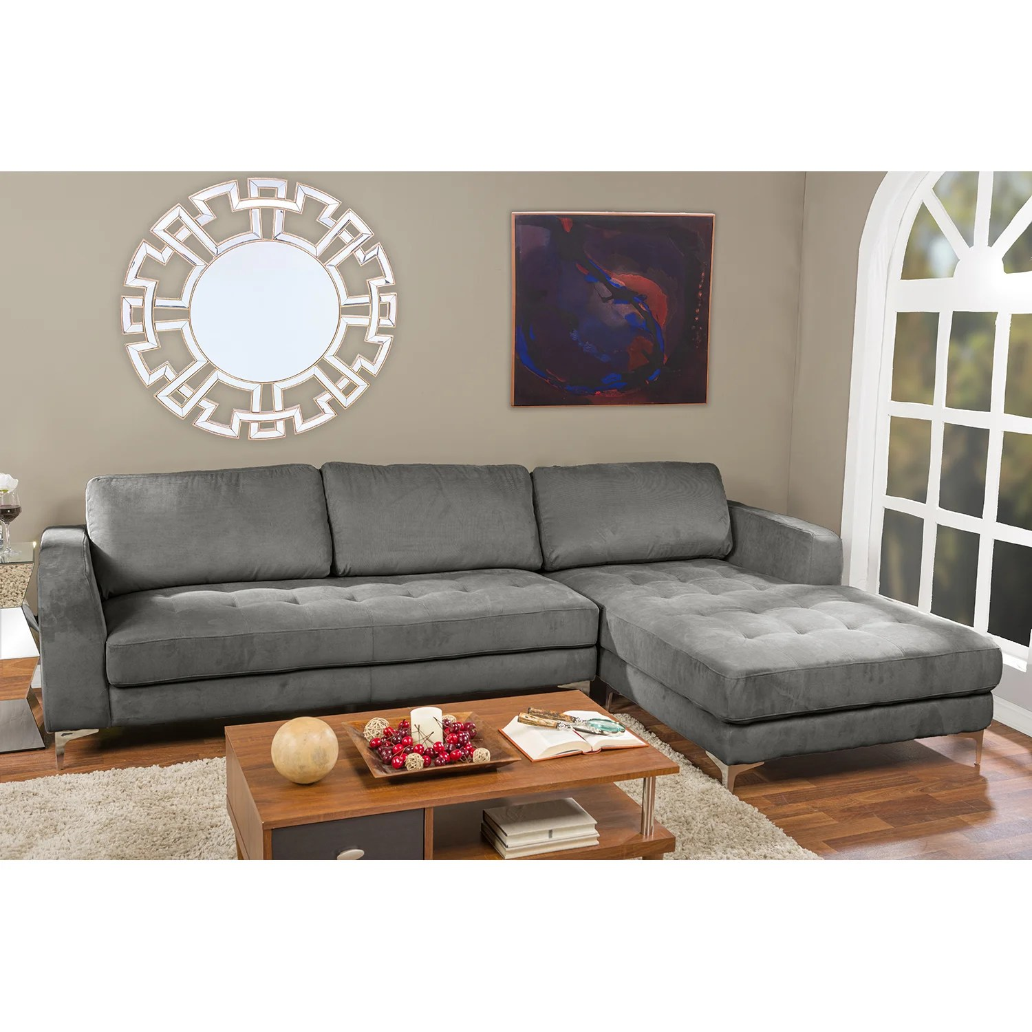 agnew contemporary charcoal grey fabric right facing sectional sofa