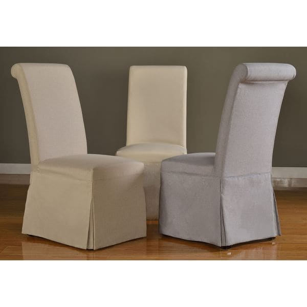 parson chairs covers massage chair cover for sale shop domusindo slipcovered roll back dining (set of 2) - free shipping today overstock ...