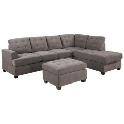 Large Plush Sectional Sofa Broyhill Reclining Parts Shop 3 Piece Modern Grey Microfiber Reversible With Ottoman Free Shipping Today Overstock Com 10164068