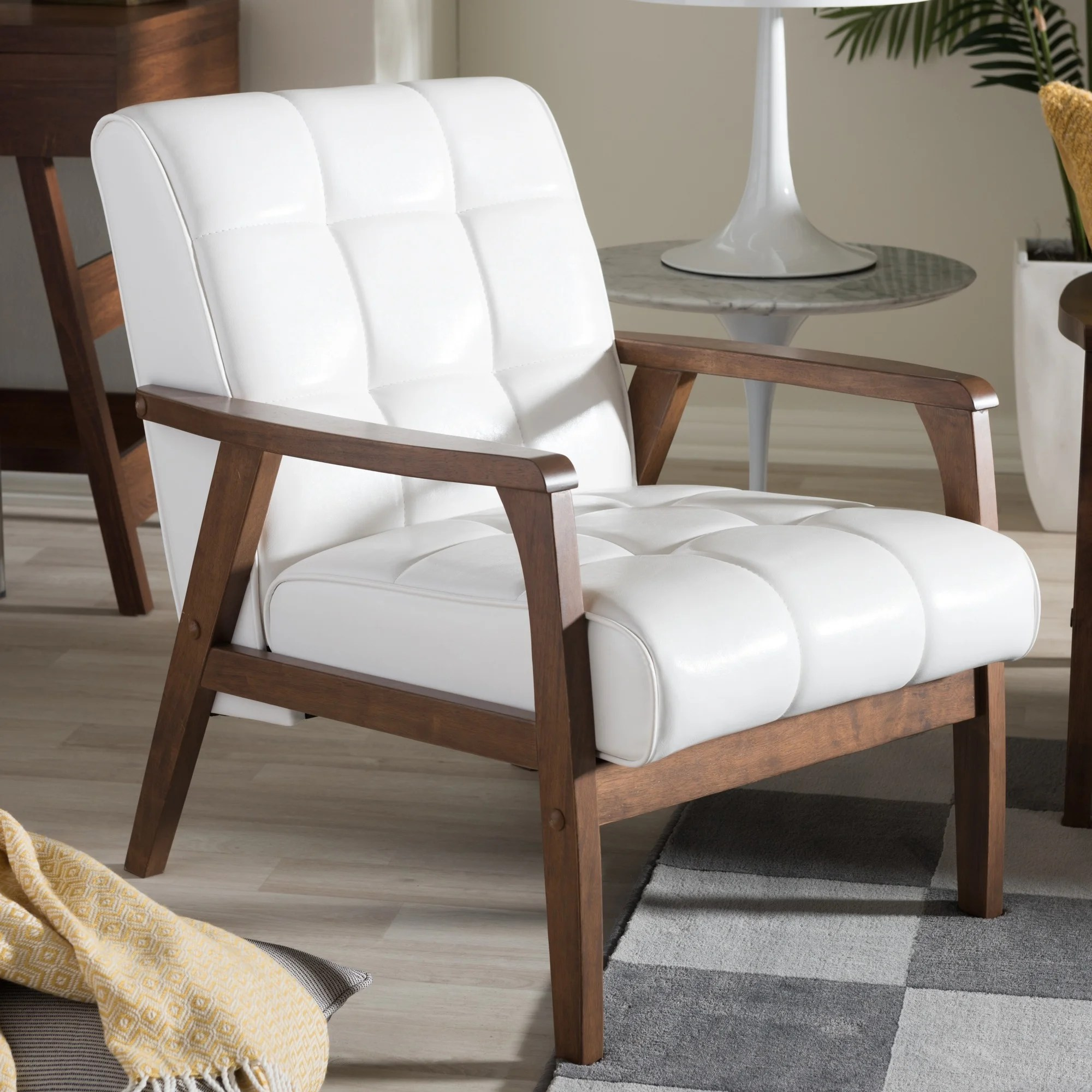 white faux leather chair universal covers for sale shop mid century by baxton studio