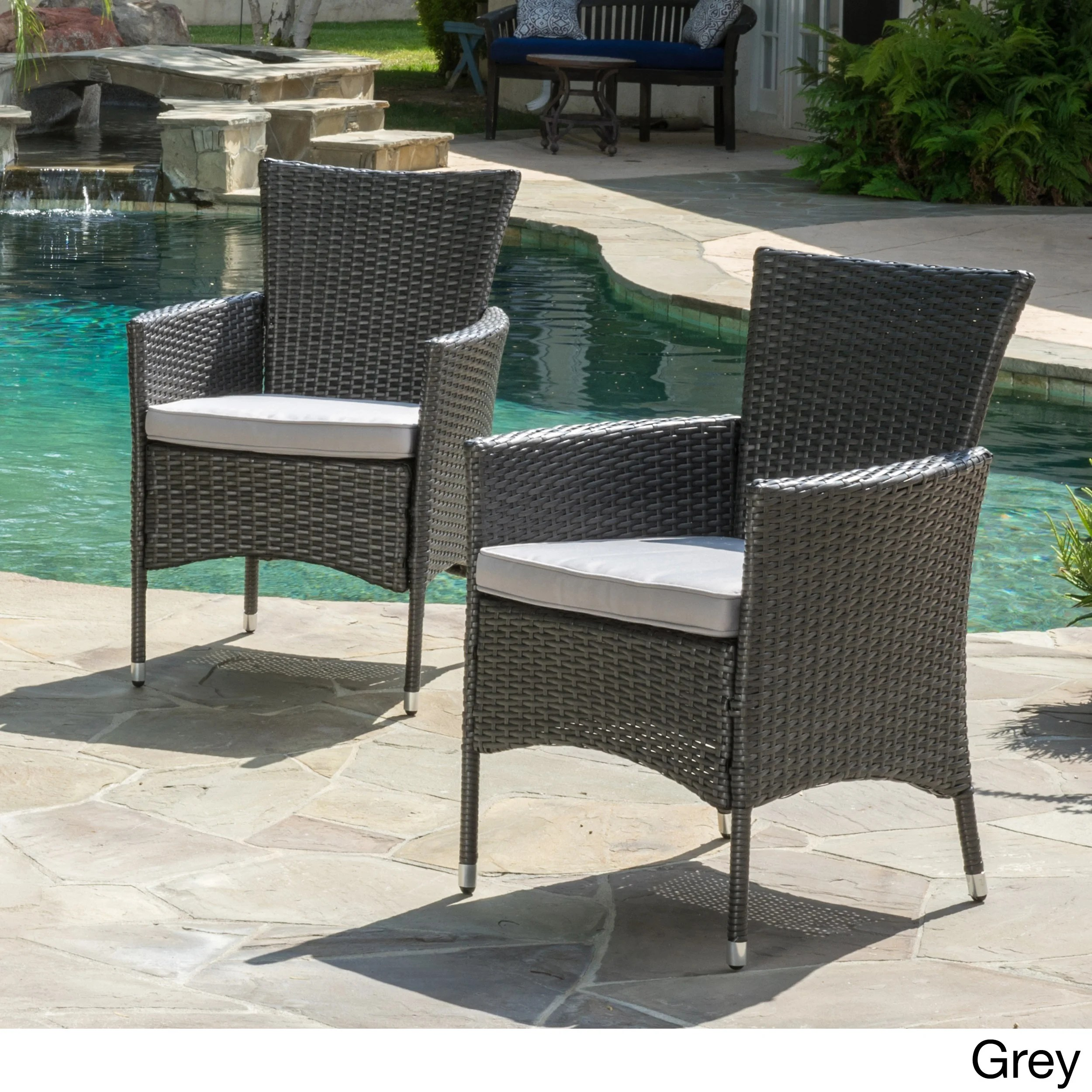 wicker patio chair set of 2 gray side malta outdoor dining with cushion