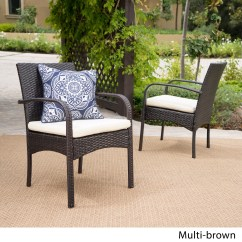 Outdoor Dining Chair Cushions Set Of 4 Coleman Camping Wicker In Multi Brown 2 Id