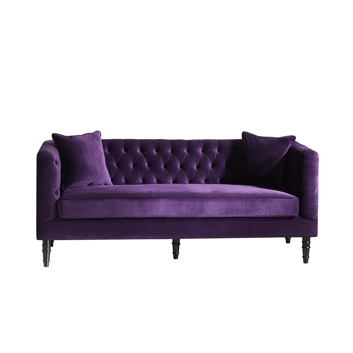 purple velvet upholstered sofa gray sectional with chaise lounge flynn french inspired