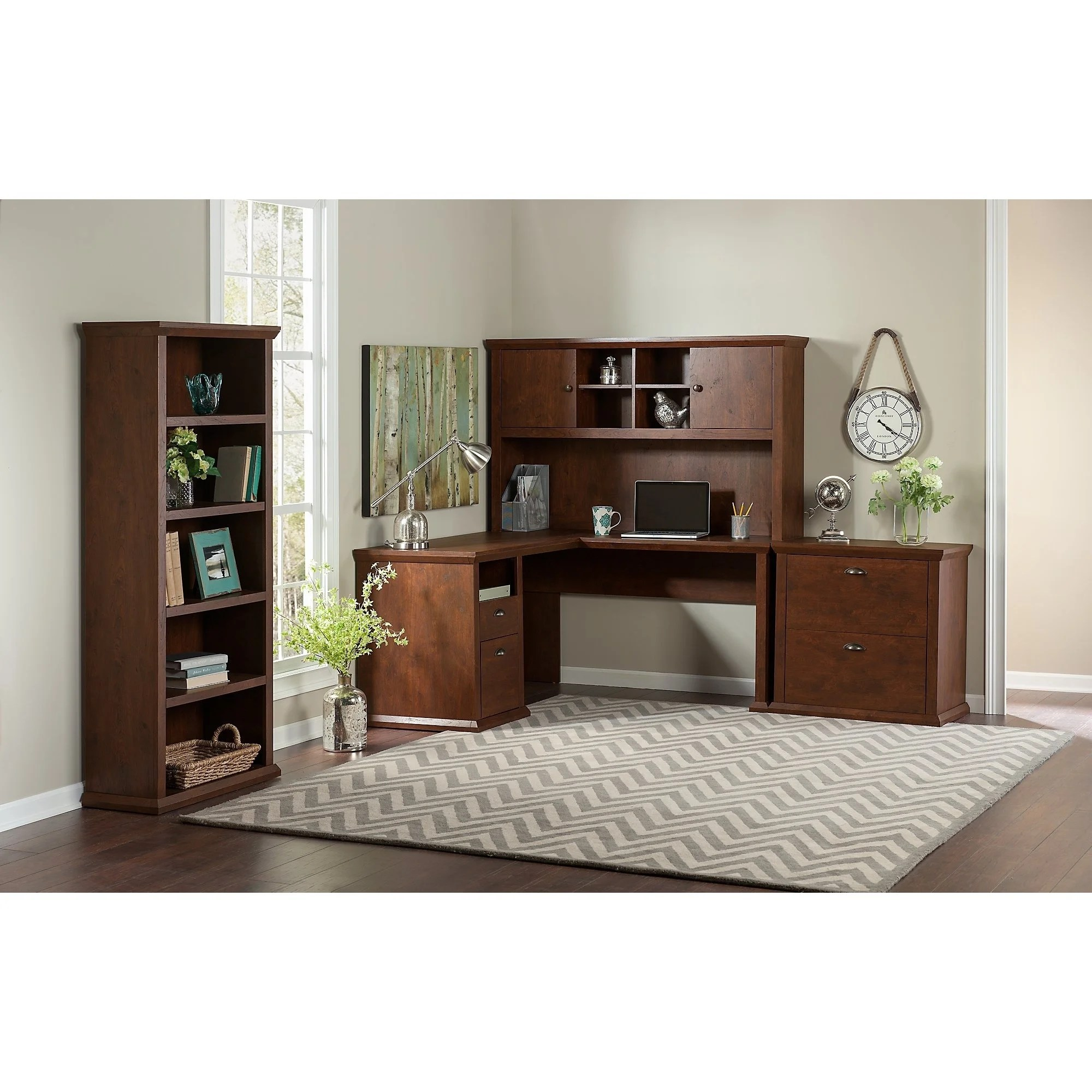 Copper Grove Senaki L Shaped Desk With Hutch Lateral File Cabinet And Bookcase In Antique Cherry