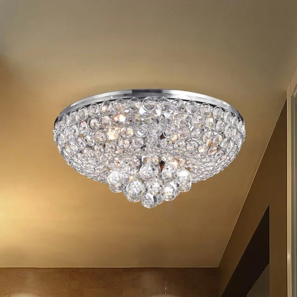 Francisca 4 Light Chrome Finish Flush Mount Crystal Chandelier