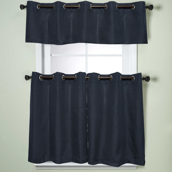 grommet kitchen curtains solid wood table shop modern subtle texture navy curtain parts with grommets tier and valance options