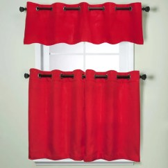 Red Kitchen Valance Glass Pendant Lights For Island Shop Modern Subtle Texture Solid Curtain Parts With Grommets Tier And Options