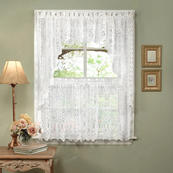 french lace kitchen curtains small cabinets for shop white luxurious old world style tiers shade or valances