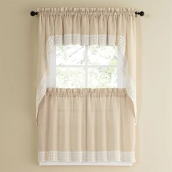 French Lace Kitchen Curtains Special Designs Shop Vanilla Country Style Curtain Parts With White Daisy Accent Tier Swag And