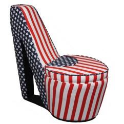 Pink High Heel Chair Blue Striped Storage Zef Jam