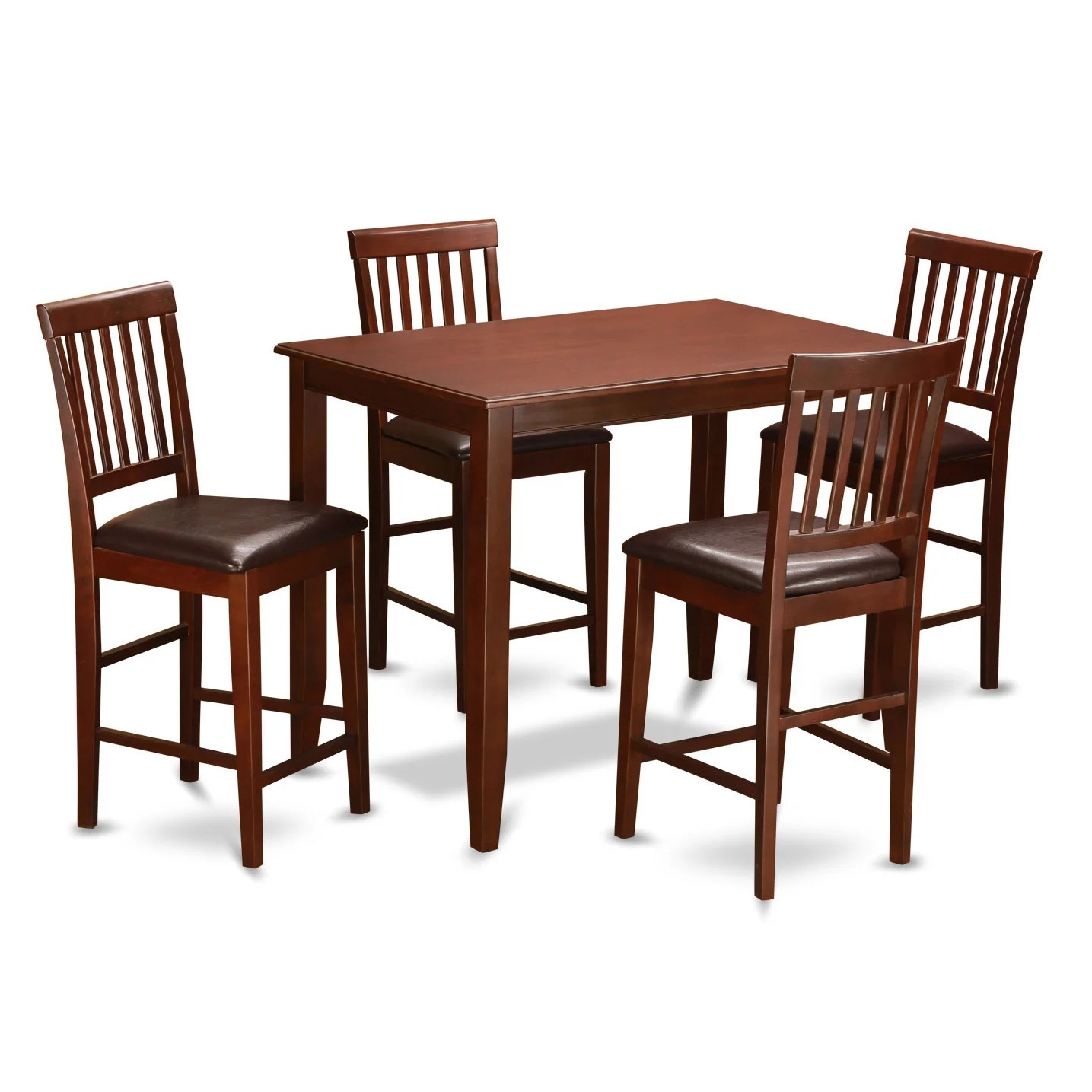 Set Of 4 Kitchen Chairs Details About Mahogany Pub Table And 4 Kitchen Chairs 5 Piece Dining Set