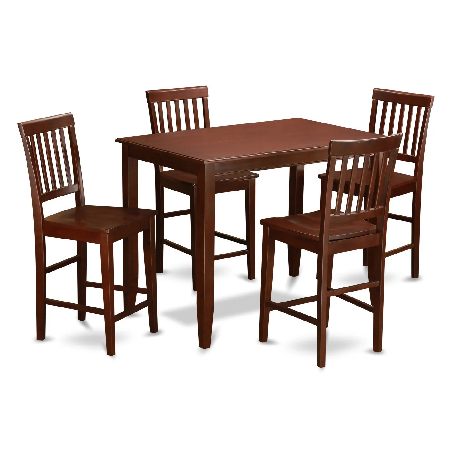 Pub Table With Chairs Mahogany Pub Table And 4 Kitchen Chairs 5 Piece Dining Set