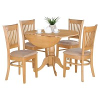 Oak Drop Leaf Table and 4 Dinette Chairs 5-piece Dining ...