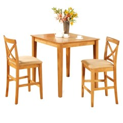 Pub Table And Chairs 3 Piece Set 2 Adirondack Style Shop Oak Kitchen Counter Dining