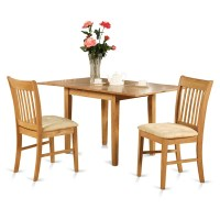 Oak Small Kitchen Table and 2 Kitchen Chairs 3-piece ...