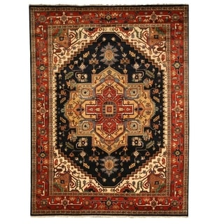 Hand Knotted Oriental Serapi Heriz Wool Carpet 79x10