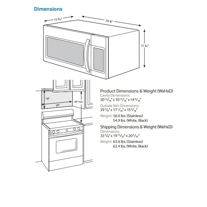 Over The Range Microwave Dimensions