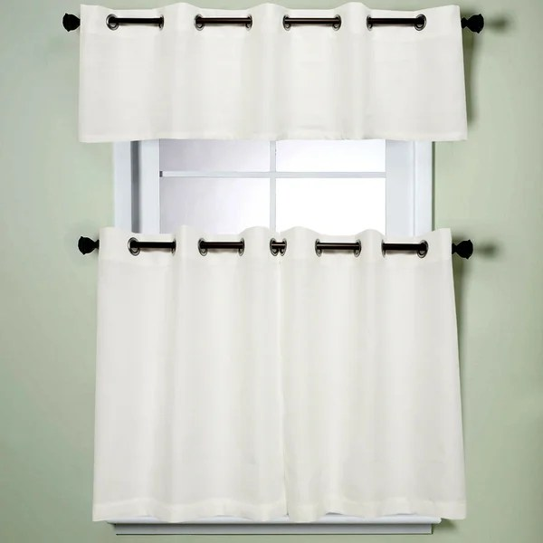 grommet kitchen curtains copper countertops shop modern subtle texture solid white curtain parts with grommets tier and valance options