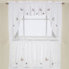 Swag Kitchen Curtains Moen Faucets Lowes Shop Fluttering Butterfly White Embroidered Tier Or Valance